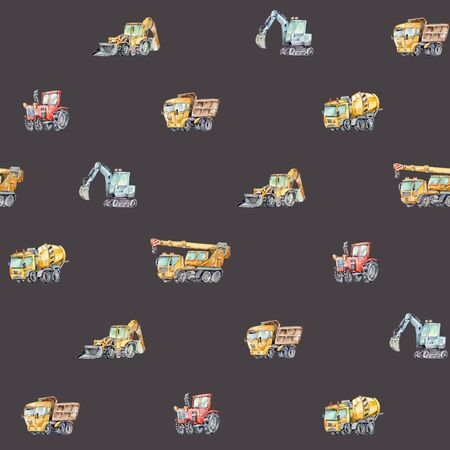 Watercolor seamless pattern with colorful little toy cars. Trucks and Cars Watercolor Background for Kids. Red tractor, Excavator, Digger machine, Building machines, Concrete Mixer.