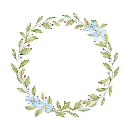 Watercolor Wild Plants, Flowers and Berries wreath. Round frame with wild flowers, plants, fern and branches. hand drawn illustration.