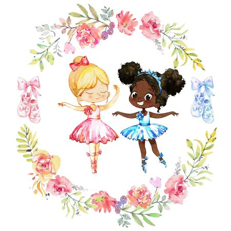 Couple Watercolor Ballerina Girls. Ballet Girl Surrounded by floral Frame and Ballet Shoes. Ballerinas Wearing Blue Dress. Elegant Little Child Posing. Ballet School Collection Poster Design for Print. Watercolor Cartoon Illustration. Isolated Foto de archivo - 132802864
