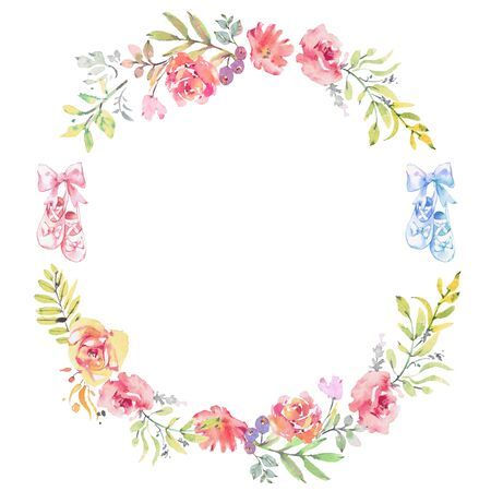 Ballet Theme Watercolor garden roses wreath. and ballet shoes. Round frame with flowers roses, plants, fern and branches. hand drawn illustration