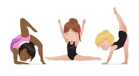 Gymnastics for kids. Cute multicultural girls do gymnast and stretching exercises. Stretching and yoga pose. Flexible gymnastics girls vector illustration isolated on white background. Beautiful rhythmic gymnast sportsmen exercising. 矢量图像