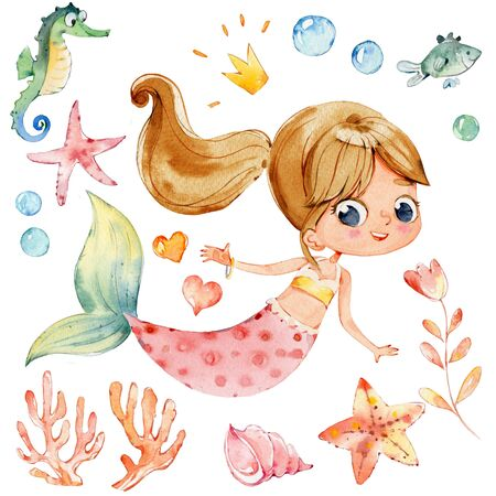 Mermaid Watercolor Character Sea Horse Ocean Kit. Young Underwater Woman Nymph Grace Mythology Princess. Mythical Aquatic Isolated Baby Siren Painting. Coral Element Flat Cartoon Illustration