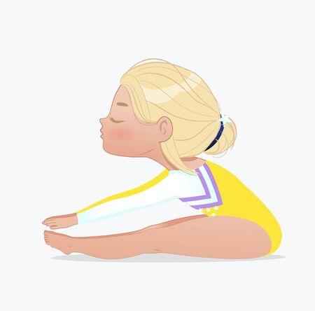 Cute blond baby girl sitting forward bend. Stretching and yoga exercise. Flexible gymnastics girl vector illustration isolated on white background. Beautiful rhythmic gymnast sportsmen exercising. Ilustração