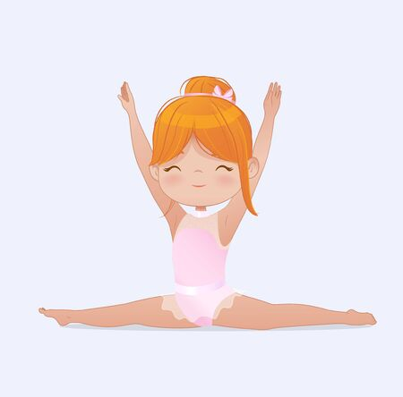 Gymnastics for kids. Beautiful red hair girl gymnast doing splits. Stretching and yoga exercise. Flexible gymnastics girl vector doing exercises illustration isolated on white background Ilustração