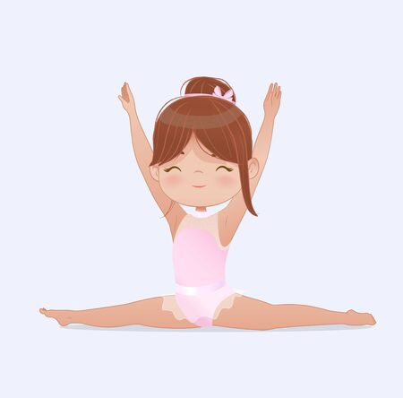 Gymnastics for kids. Beautiful brown hair girl gymnast doing splits. Stretching and yoga exercise. Flexible gymnastics girl vector doing exercises illustration isolated on white background
