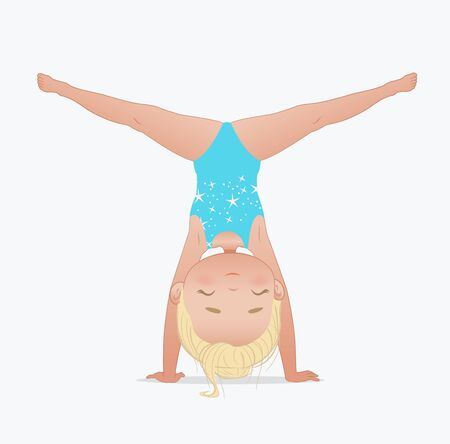 Gymnastics for kids series. Beautiful blond girl doing handstand and split. Stretching or yoga exercise. Flexible gymnastics girl vector illustration isolated on white background Ilustração