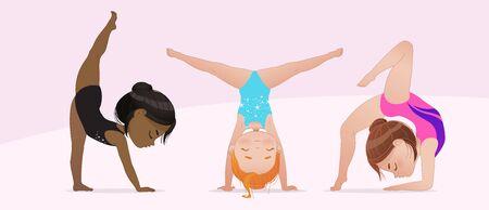 Gimnasia para niños. grupo de niñas multiculturales que hacen gimnasia y ejercicios de estiramiento. Postura de estiramiento y yoga. Ilustración de vector de chicas de gimnasia flexible aislado sobre fondo blanco. Hermosos deportistas gimnasta rítmica haciendo ejercicio.