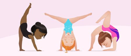 Gymnastics for kids. groupe of multicultural girls do gymnast and stretching exercises. Stretching and yoga pose. Flexible gymnastics girls vector illustration isolated on white background. Beautiful rhythmic gymnast sportsmen exercising.