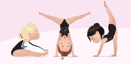 Gymnastics for kids. groupe of girls do gymnast and stretching exercises. Stretching and yoga pose training. Flexible gymnastics girls vector illustration isolated on white background. Beautiful rhythmic gymnast sportsmen exercising.