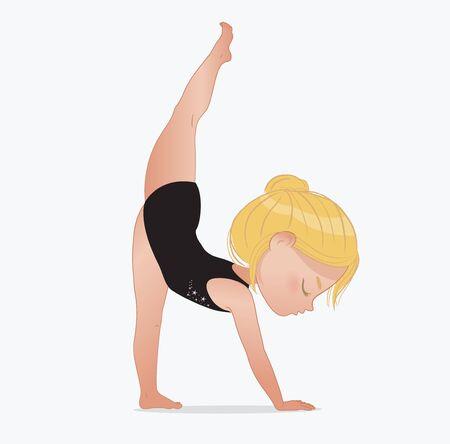 Beautiful Bllond girl gymnast wearing black doing standing split. Stretching or yoga exercise. Flexible gymnastics girl vector illustration isolated on white background. Urdhva Prasarita Eka Padasana