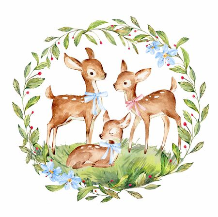 Cute Watercolor Family of Deers surrounded by wild forest plants wreath. Full Profile Baby Deer over white. Isolated. Nursery print of Forest Animals for baby girl or boy.