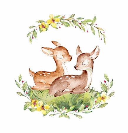 Two Watercolor Baby Deers surrounded by wild forest plants wreath. Full Profile Siblings Baby Deers over white. Isolated. Nursery print of Forest Animals for baby girl or boy.