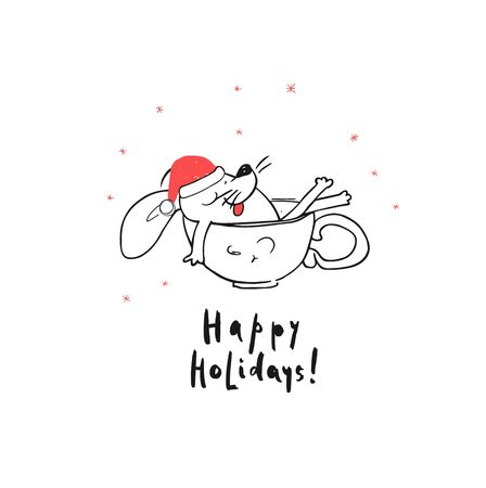 Happy Holidays Greeting Card. Funny White Santa Claus Mouse or Rat Takes Bath in a Cup. Comic Animal cartoon black and white illustration.