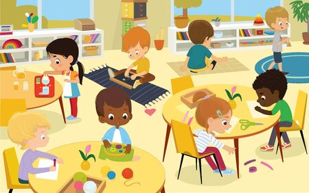 Female preschool nursery nurse, kindergarten teacher playing with children in modern, equipped classroom cartoon vector illustration. Montessori school, early childhood education service concept Иллюстрация