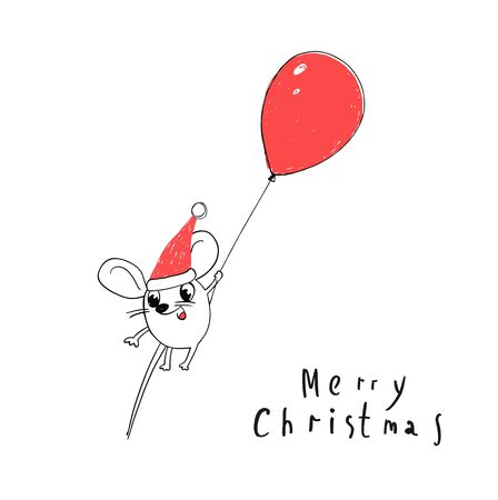 Merry Christmas and happy New Year Greeting Card. 2020 Cute White Santa Claus Mouse or Rat Fly in a Balloon. Animal cartoon black and white illustration. Illustration