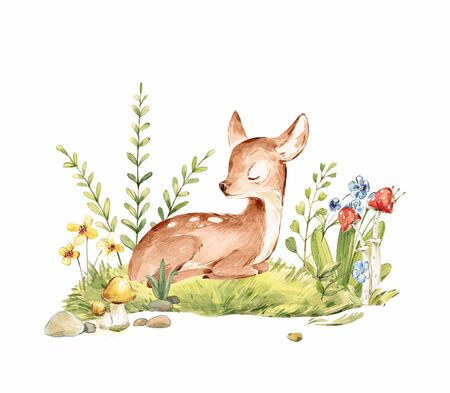 Cute Watercolor Baby Deer with the blue ribbon surrounded by wild flowers and mushrooms over white. Baby Deer sleeping in the forest. Isolated. Nursery print for baby girl oa boy