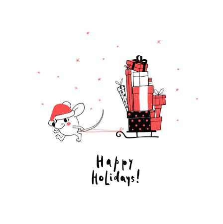 Happy Holidays Greeting Card. 2020 Funny White Mouse Wear Santa Claus Hat Carries Sleds with Gifts and Presents. Comic. Animal cartoon black and white illustration.