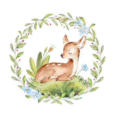 Cute Watercolor Baby Deer surrounded by wild forest plants wreath. Full Profile Baby Deer over white. Isolated. Nursery print of Forest Animals for baby girl or boy. Zdjęcie Seryjne
