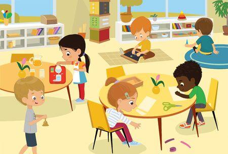 Classe d'école Montessori. Des illustrations vectorielles d'enfants dans la salle de jeux, de garçons et de filles impliqués dans des activités Montessori, cousent, font un collage, versent de l'eau, marchent avec la cloche et s'amusent. Dessins d'enfants pour affiche, arrière-plan ou carte.