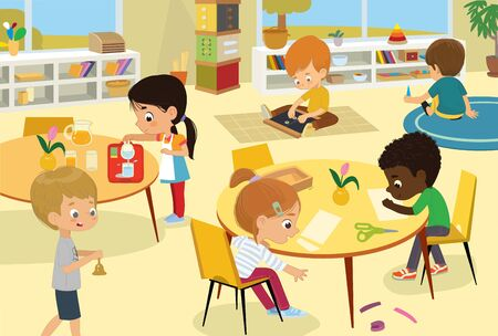 Montessori School Class. Vector illustrations of children in the playroom, boys and girls involved in Montessori activities, sew, make a collage, pour water, walking with the bell, and have fun. Kids drawings for poster, background or card.