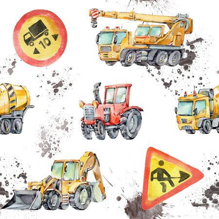 Watercolor seamless pattern with colorful little toy Trucks, Cars and Road Signs. Watercolor Grunge Background for Kids. Red tractor, Excavator, Digger machine, Building machines, Concrete Mixer.