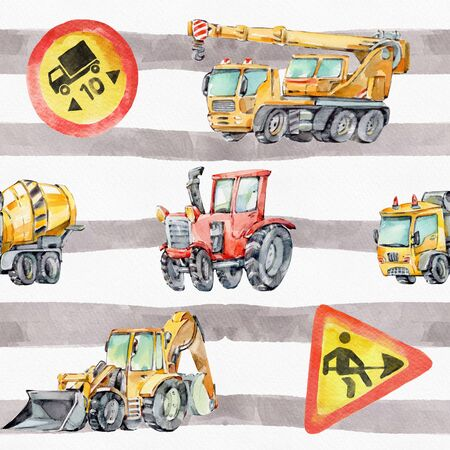 Watercolor seamless pattern with colorful little toy Trucks, Cars and Road Signs. Watercolor Strips Grunge Background for Kids. Red tractor, Excavator, Digger machine, Building machines, Concrete Mixer.