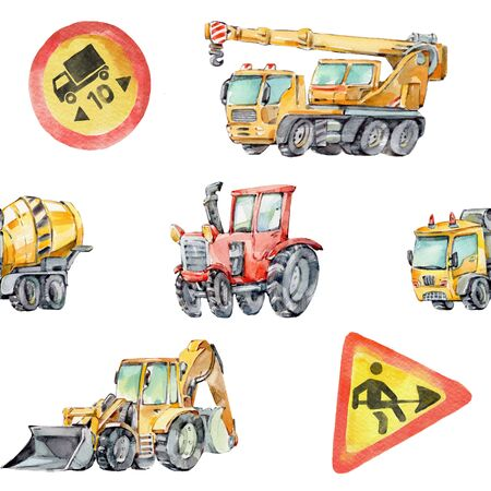 Watercolor seamless pattern with colorful little toy Trucks, Cars and Road Signs. Watercolor Background for Kids. Red tractor, Excavator, Digger machine, Building machines, Concrete Mixer.