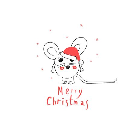 Merry Christmas and happy New Year Greeting Card. 2020 Funny White Mouse Wear Santa Claus Hat. Comic. Animal cartoon black and white illustration.