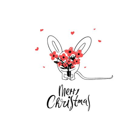 Merry Christmas and happy New Year Greeting Card. 2020 Funny White Mouse or Rat with The Bouquet of Flowers. Comic Animal cartoon black and white illustration. Illustration