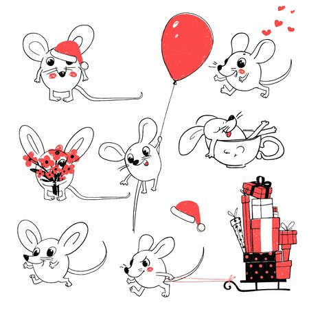 Set of White Santa Claus Mouses or Rats on a different Poses. Mouse Flies in a Balloon. Mouse with the bouquet, mouse in a Cup. Mouse with the presents. Merry Christmas and happy New Year Greeting Card 2020 Ilustracja