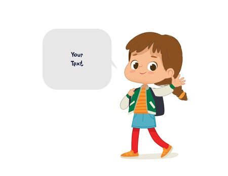 Vector illustration of the Girl with the backpack go to school. Preschool girl walks to school. School girl and speech bubble with place for text isolated on white background..