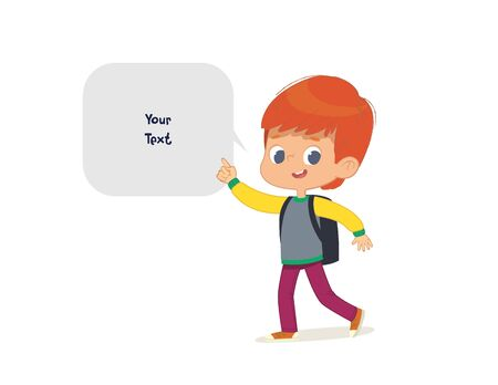 Vector illustration of the Boy with the backpack goes to school. Preschool boy walks to the school. School boy and speech bubble with place for text isolated on white background.