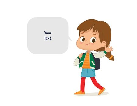 Vector illustration of the Girl with the backpack go to school. Preschool girl are walk to school. School girl and speech bubble with place for text isolated on white background. Ilustracja