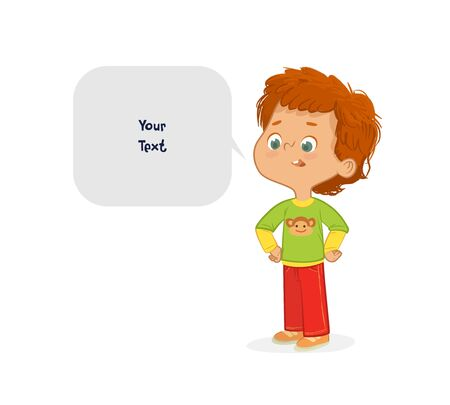 Vector illustration of the Red Hair Boy. School boy and speech bubble with place for text isolated on white background.. Ilustracja