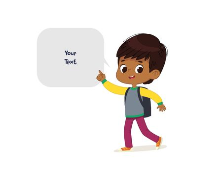 Vector illustration of the Latino Boy with the backpack goes to school. Preschool boy walks to the school. Dark Skin boy and speech bubble with place for text isolated on white background. Ilustración de vector