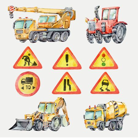 Watercolor colorful little toy Trucks, Cars and Road Signs. Watercolor Grunge Background for Kids. Red tractor, Excavator, Digger machine, Building machines, Concrete Mixer.