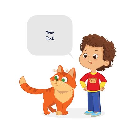 The Boy with the Pet Cat. Caring for domestic animals concept. School boy and his pet Red Cat and speech bubble with place for text isolated on white background.