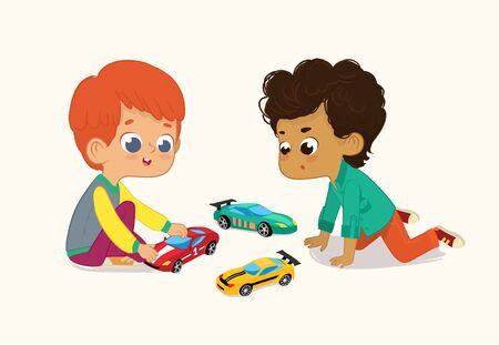 Illustration of two Cute Boys Playing with Their Toys Cars. Red hair boy shows and shares his Toy Cars to His African-American Friend.