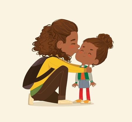 Illustration of a Mother Gives a Goodbye Kiss to her daughter. African American Mum Gives Kiss to the child at the school door. Preschool girl say hello to mom at Montessori school. Vector. Isolated. Ilustracja