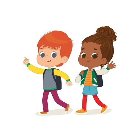 Vector illustration of two kids with the backpacks are going to school. Preschool friends Redhair boy and African American girl walks to school.