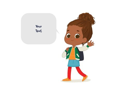 Vector illustration of the African American Girl with the backpack goes to school. Preschool girl walks to school. School girl and speech bubble with place for text isolated on white background Ilustracja