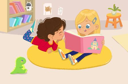 illustration of two girls reading the book in a book corner in the kindergarten. Ilustracja