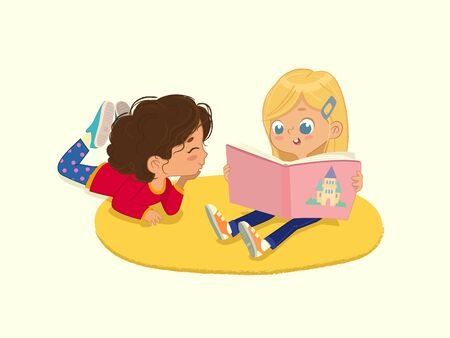 illustration of two friends girls reading the book in a book corner in the kindergarten. Isolated