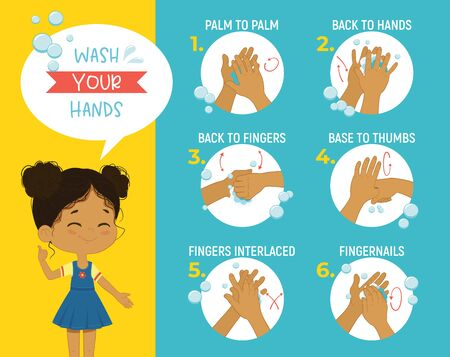 How to wash your hands Step Poster Infographic illustration. Poster with African girl shows how to wash hands properly