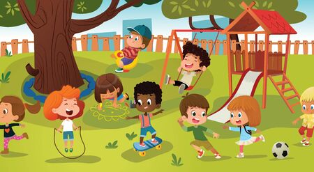 Group of kids playing game on a public park or school playground with with swings, slides, skate, ball, crayons, rope, playing catch-up game. Happy childhood. Modern illustration. Clipart