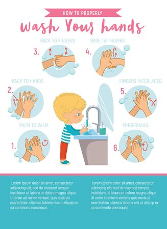 Illustration of a aboy washing his hands on a white background. Wash your Hands Properly Step Poster Infographic illustration. Ilustracja