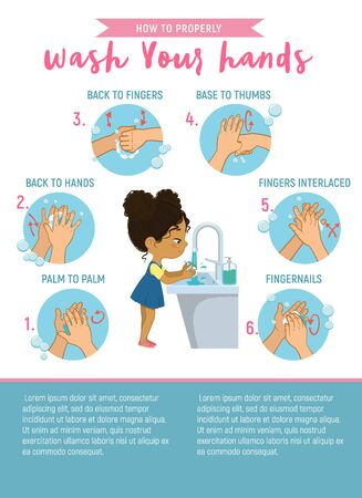 How to wash your hands Step Info Graphic. Illustration of a african american girl washing her hands on a white background. Step Poster illustration.