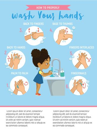 How to wash your hands Step Info Graphic. Illustration of a african american girl washing her hands on a white background. Step Poster illustration