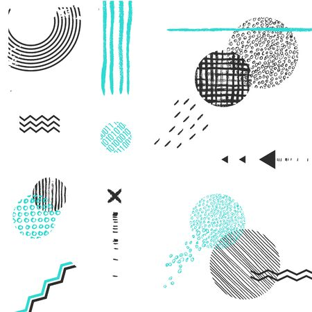 Beautiful vector black white background. Gand Drawn sketch Lines, dots, textures Ilustracja