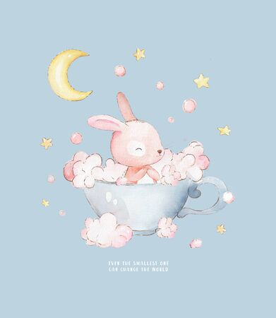 Little Bunny Takes Baths in a Cup. Cute watercolor cartoon hand drawn print can be used for t-shirt print, kids wear fashion design, baby shower invitation card. Zdjęcie Seryjne
